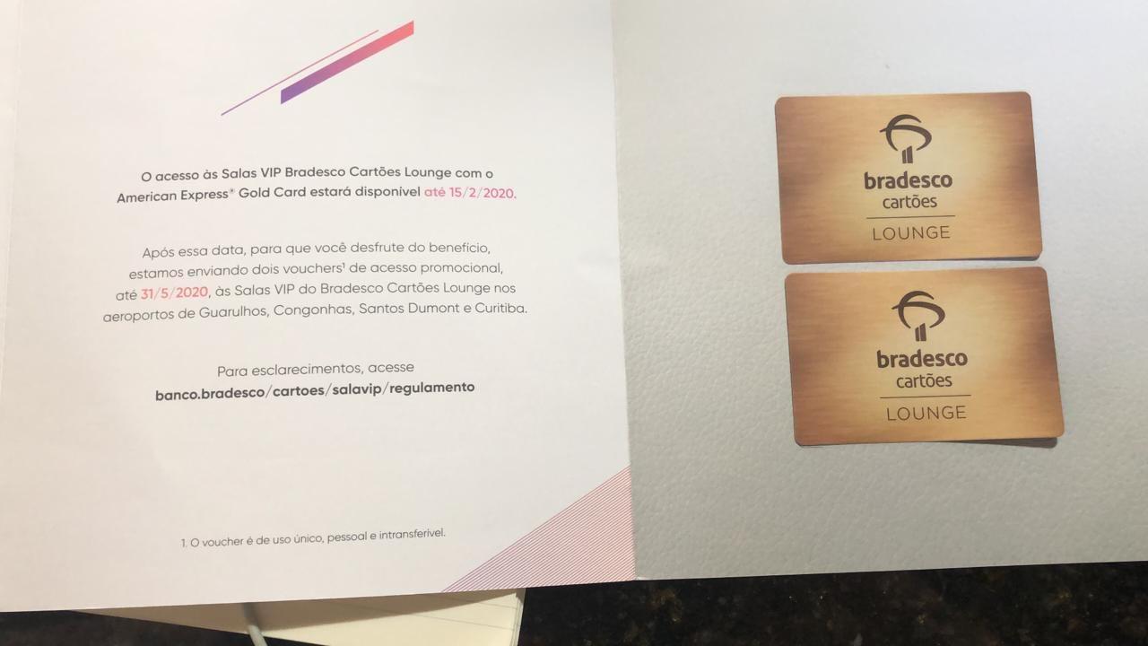 Amex Gold voucher - FIM DA PARCERIA | Salas Bradesco não aceitam mais clientes estrangeiros da American Express