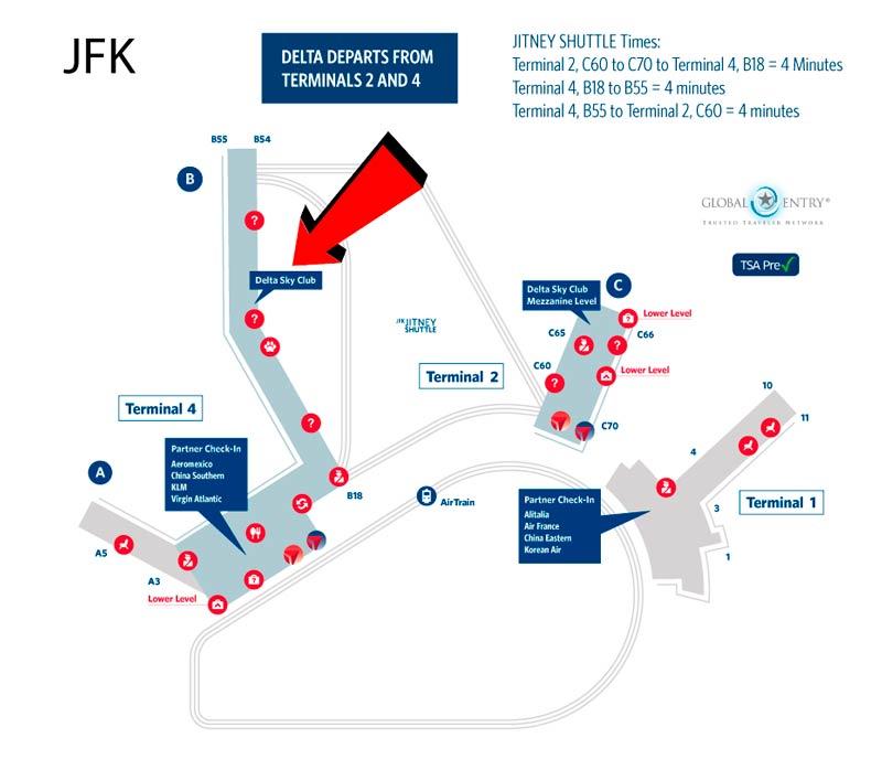 JFK DSCT4 Mapa - JFK – [Atualizado] Delta Sky Club Terminal 4 Aeroporto JFK em Nova Iorque