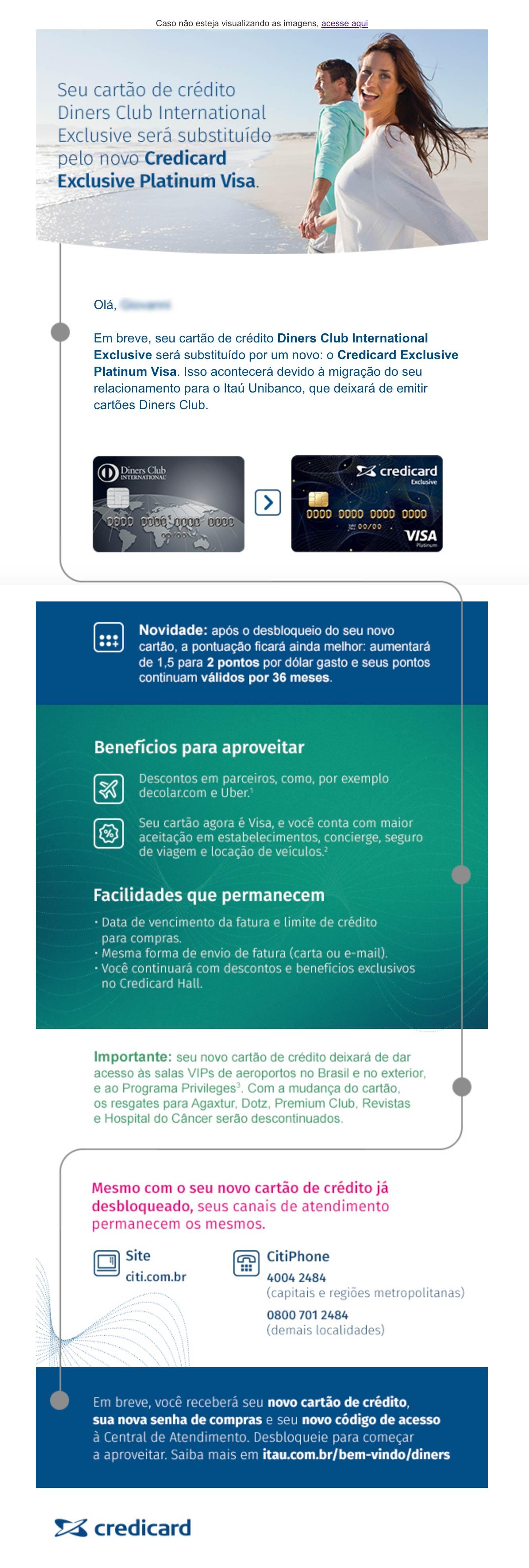 DINERS emailCredicard - Itaú cancela Diners Club no Brasil e clientes ficam sem acesso às Salas VIP